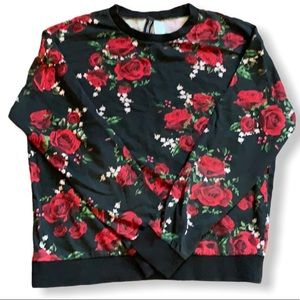 Black with red roses long sleeve sweatshirt SMALL
